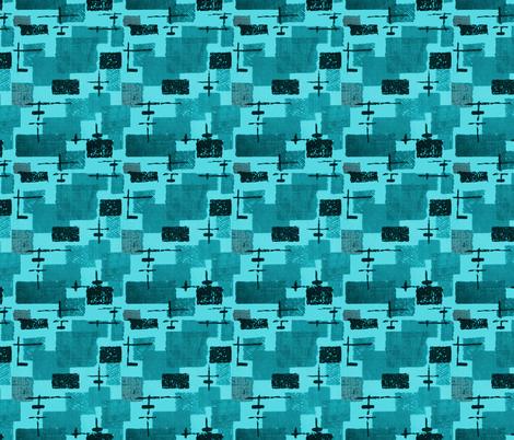 Mid Century - Abstarct Blue fabric by hollywood_royalty on Spoonflower - custom fabric