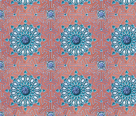 olds5 rose and blue fabric by unseen_gallery_fabrics on Spoonflower - custom fabric