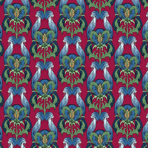 Bird Floral Dark Blue