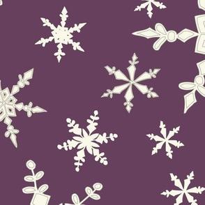 Snowflakes - Large - Ivory, Blackberry