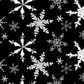 Snowflakes Black White