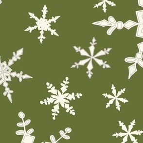 Snowflakes - Large - Ivory, Avocado