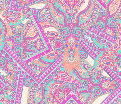 Paisley-Power-scarf-print-paisley-in-pink-coral fabric by paisleypower on Spoonflower - custom fabric