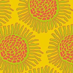 sunflowers on golden yellow