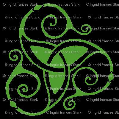 spiral tri knot black & green