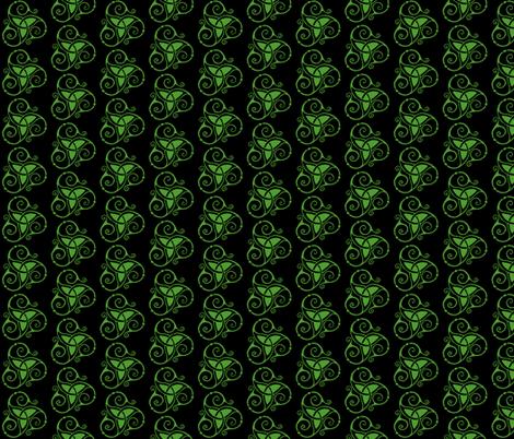 spiral tri knot black & green fabric by ingridthecrafty on Spoonflower - custom fabric