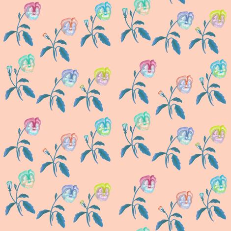 Pansy Meadow Pastels on Soft Peach fabric by thistleandfox on Spoonflower - custom fabric