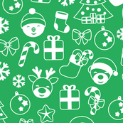 Christmas doodles on green
