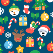 Christmas pattern - colorful holiday elements on blue
