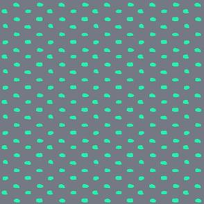Grey and Mint Painty Polka Dot