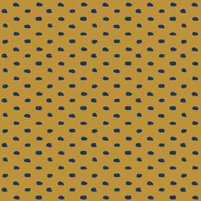 Mustard and Navy Painty Polka Dot