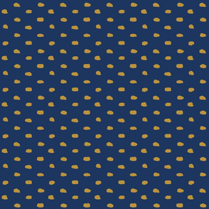 Navy and Mustard Painty Polka Dot