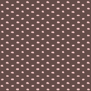 Brown and Pink Painty Polka Dot