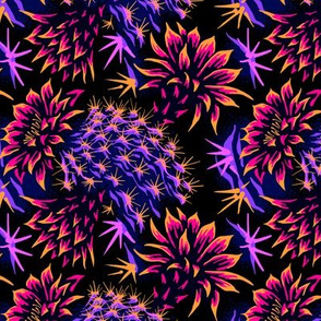 Cactus Floral - Bright Purple/Orange
