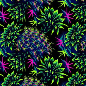 Cactus Floral - Bright Green/Pink