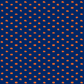 Navy and Orange Painty Polka Dot