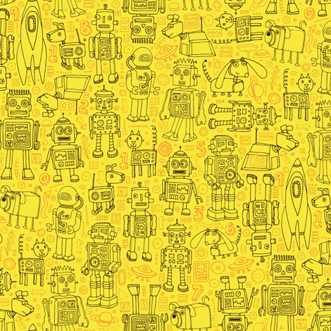 Robot pattern - Yellow fabric by cecca on Spoonflower - custom fabric