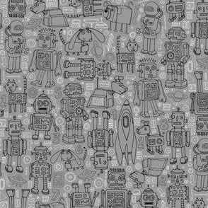 Robot pattern - grey