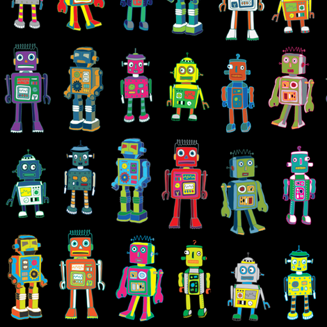 Robot Line-Up - on Black fabric by cecca on Spoonflower - custom fabric
