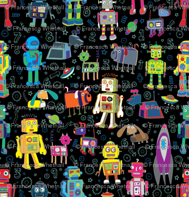 Robots in Space - Black - Medium - Small