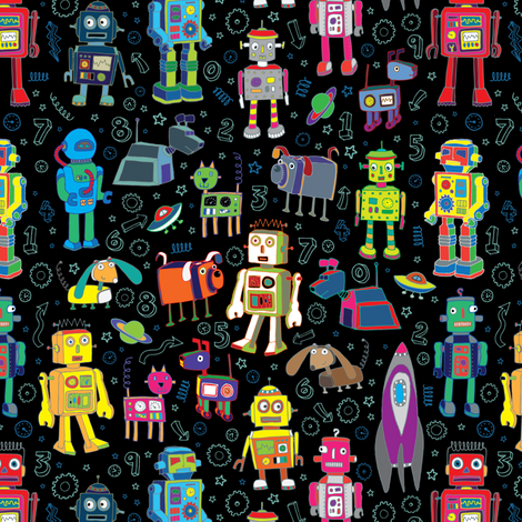 Robots in Space - Black - Medium - Small fabric by cecca on Spoonflower - custom fabric