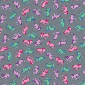 Ponies - pink, lilac, mint on grey