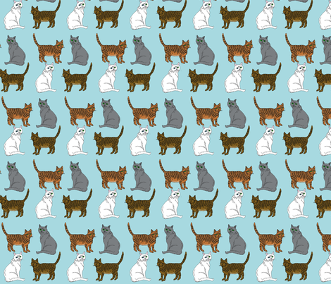 four_kitties_b fabric by leroyj on Spoonflower - custom fabric