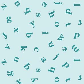alphabet in Turquoise