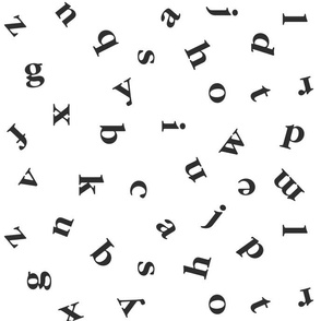 alphabet in black and white