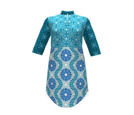 Geometric Flower Crystalized Design Blue Aqua