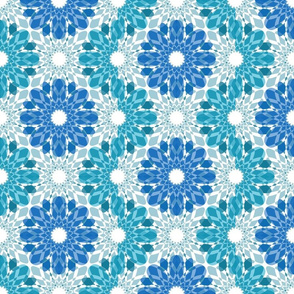 Geometric Flower Crystalized Design Blue Aqua