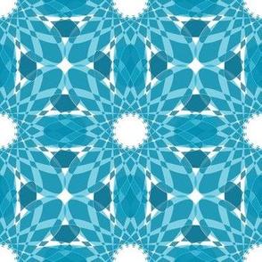 Geometric Flower Crystalized Design Aqua