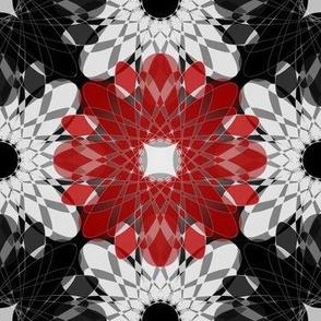 Geometric Flower Crystalized Black Red