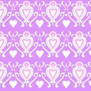 Heart Damask- Pink and Lavender