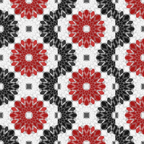 Geometric Flower Crystalized Red Black Gray