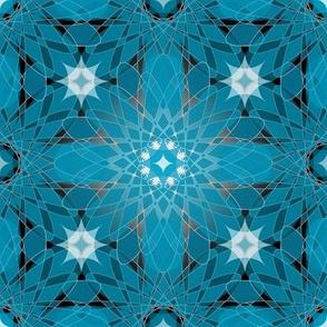 Geometric Crystal Flower Design Aqua