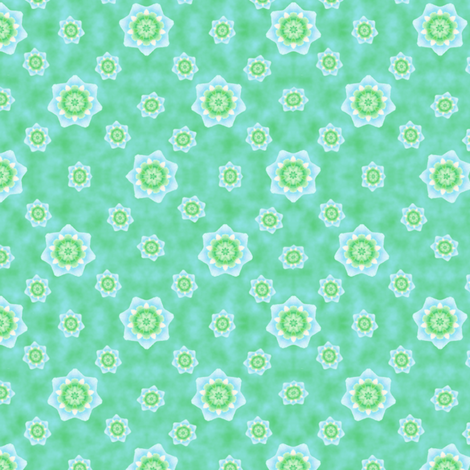 Passion_Flower_Green_Aqua fabric by karwilbedesigns on Spoonflower - custom fabric