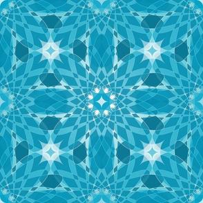 Geometric Crystal Flower Design Aqua White