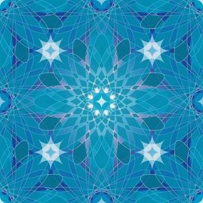 Geometric Crystal Flower Design Blue Aqua