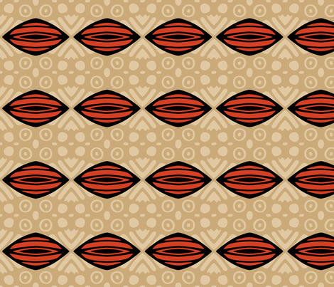 African Mudcloth in Red and Tan fabric by mariafaithgarcia on Spoonflower - custom fabric