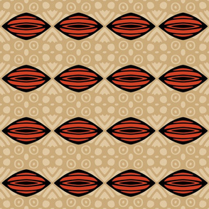 African Print in Red and Tan