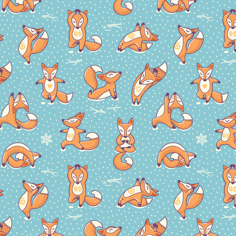 Foxes Yoga fabric by penguinhouse on Spoonflower - custom fabric