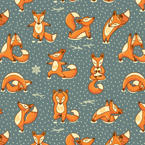 Foxes Yoga fabric by penguinhouse on Spoonflower - custom fabric