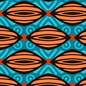 African Mudcloth in Orange and Blue