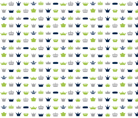 Lime Navy Grey Crowns fabric by suitebaby on Spoonflower - custom fabric