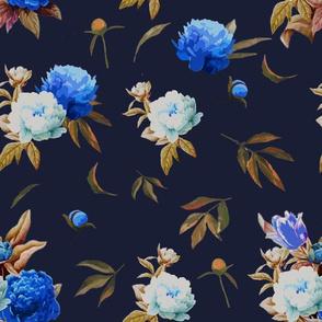 Vintage Flower/Blue Peonies