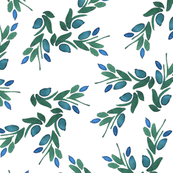 Ovilia hand painted watercolor floral  pattern