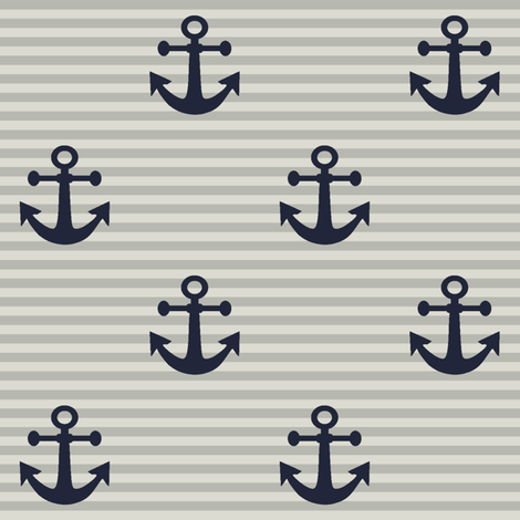 New England Nautical // Anchors fabric by thinlinetextiles on Spoonflower - custom fabric