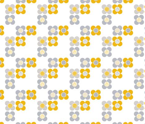 Mod Flower - Yellow fabric by louise_brainwood_designs on Spoonflower - custom fabric