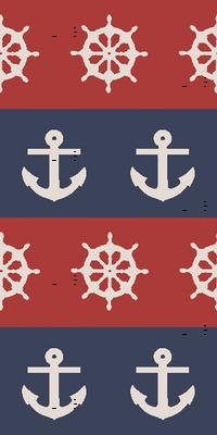 Ship Wheels & Anchors // Red & Navy